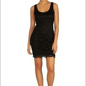 Guess Scalloped Fringe Lace LBD Bodycon Dress